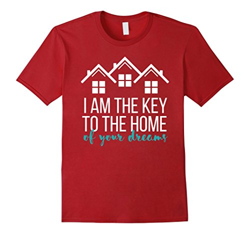Real Estate Agent T-shirt – I am the key to the home of your Herren, Größe 2XL Cranberry